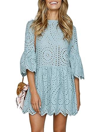 Terryfy Damen Kurz Kleid Elegant Spitze Langarm Sommer Kleid Trompetenärmel Minikleid