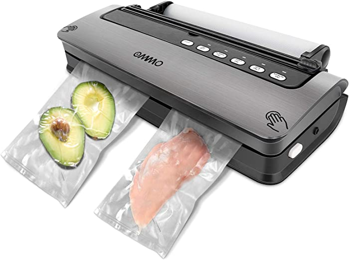 OMMO Vacuum Sealer, Food Saver Vacuum Sealer Machine with Built-in Cutter, Automatic/Manuel Food Sealer for Dry and Moist Fresh Food Preservation, Vacuum Roll Bag and Hose Included (Black)