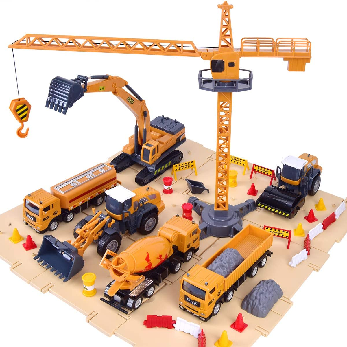 Crane Steamroller for 3 4 Construction Site Vehicles Toy Set Excavator Digger Cement Boys Tractor Dump Trucks Engineering Playset Kids /& Children 5 Year Old Toddlers Girls