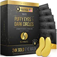 24K Gold Eye Mask– 15 Pairs - Puffy Eyes and Dark Circles Treatments – Look Less Tired and Reduce Wrinkles and Fine…
