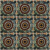 Ceramic Talavera Mexican Tile 4x4'', 9 Pieces (NOT Stickers) A1 Export Quality! -EX144G