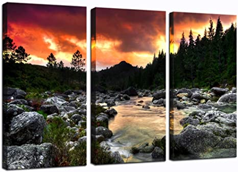 Sea Charm Mountain Wall Paintings For Living Room Beautiful River At Sunset Landscape Picture Print On Canvas 3 Pieces Autumn Canvas Wall Art Framed Ready To Hang Each Piece 16x32