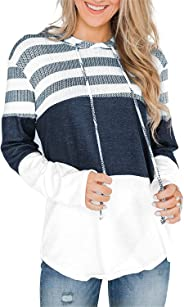 onlypuff Womens Casual Sweatshirt Solid Long Sleeve Tunic Tops with Pockets
