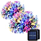 GIGALUMI 2 Pack Solar Strings Lights, Christmas Lights 23 Feet 50 LED Flower Solar Fairy Lights, Garden Lights for Outdoor, Home, Lawn, Wedding, Patio, Party and Holiday Decorations- Multi Color