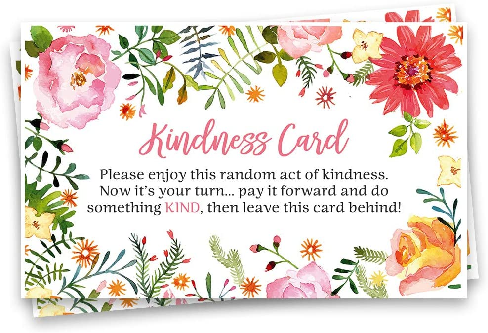 Kindness Cards Compliment Cards Random Acts Pay It Forward Stocking Stuffers Gift Ideas Business Card Size Floral Watercolor Pink Orange Red (25 count)