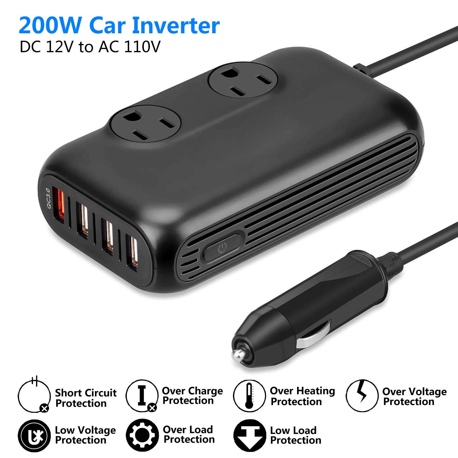 ISELECTOR 150W Car Power Inverter, DC 12V to 110V AC Converter with 2 USB Ports Charger, Thinner Design with ETL Listed Car Adapter