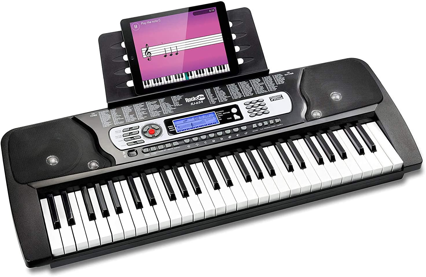 RockJam 54-Key Portable Electronic Keyboard with Interactive LCD Screen & Includes Piano Maestro Teaching App with 30…