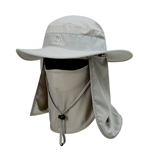 f6f23fe913769 Outdoor Sun Protection Wide Brim Cap Removable Mesh Neck Face Flap Fishing  Farmer Gardener Hat YR
