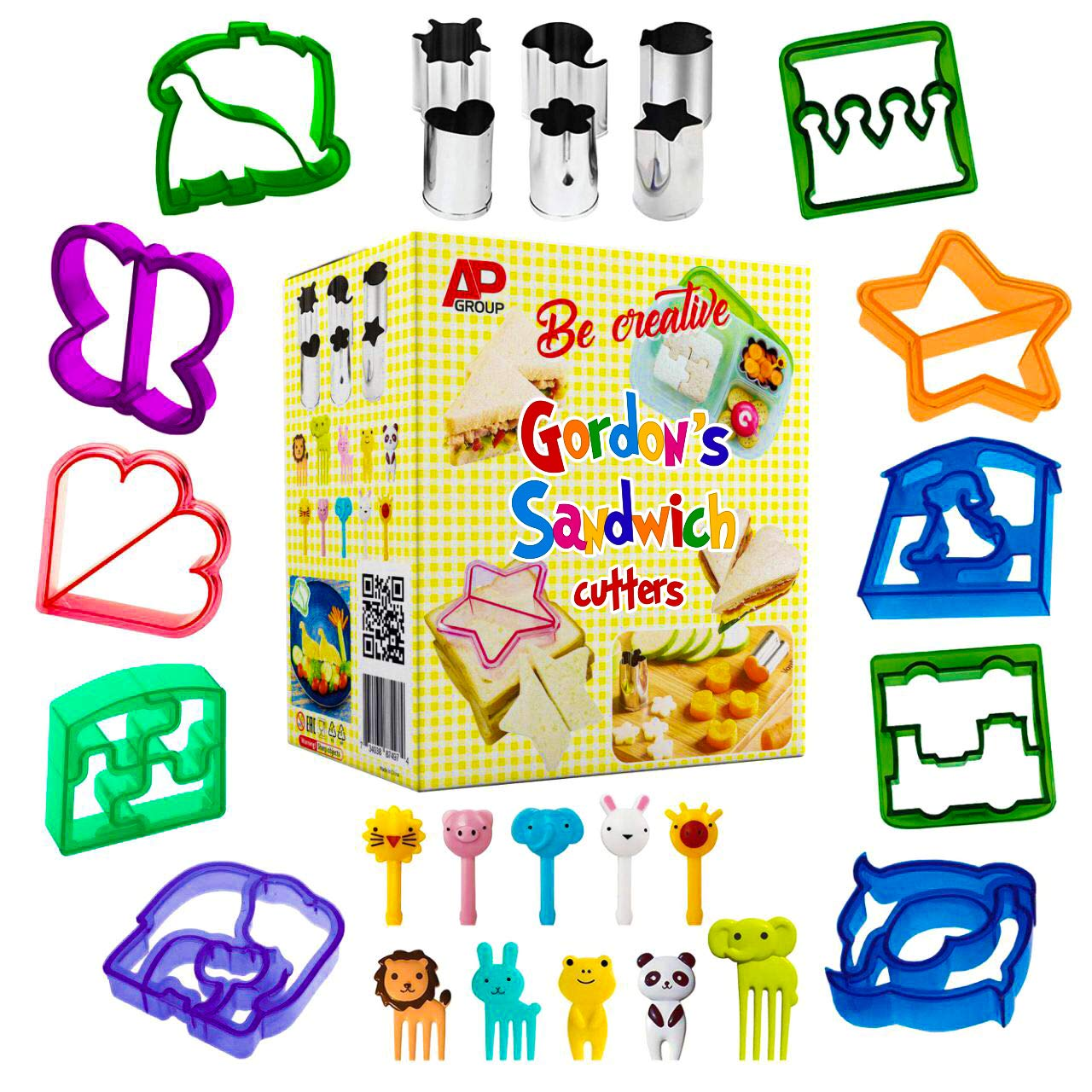 Sandwich Cutters for Kids | Funbite Food Cutter for Kids | Exciting and Innovative | Kids Friendly | 26 pieces set | Variant Sandwich Cutters | Vegetable and Cheese Stamps | Animal Shaped Food Picks | by Gordon's Sandwich Cutter (Image #1)
