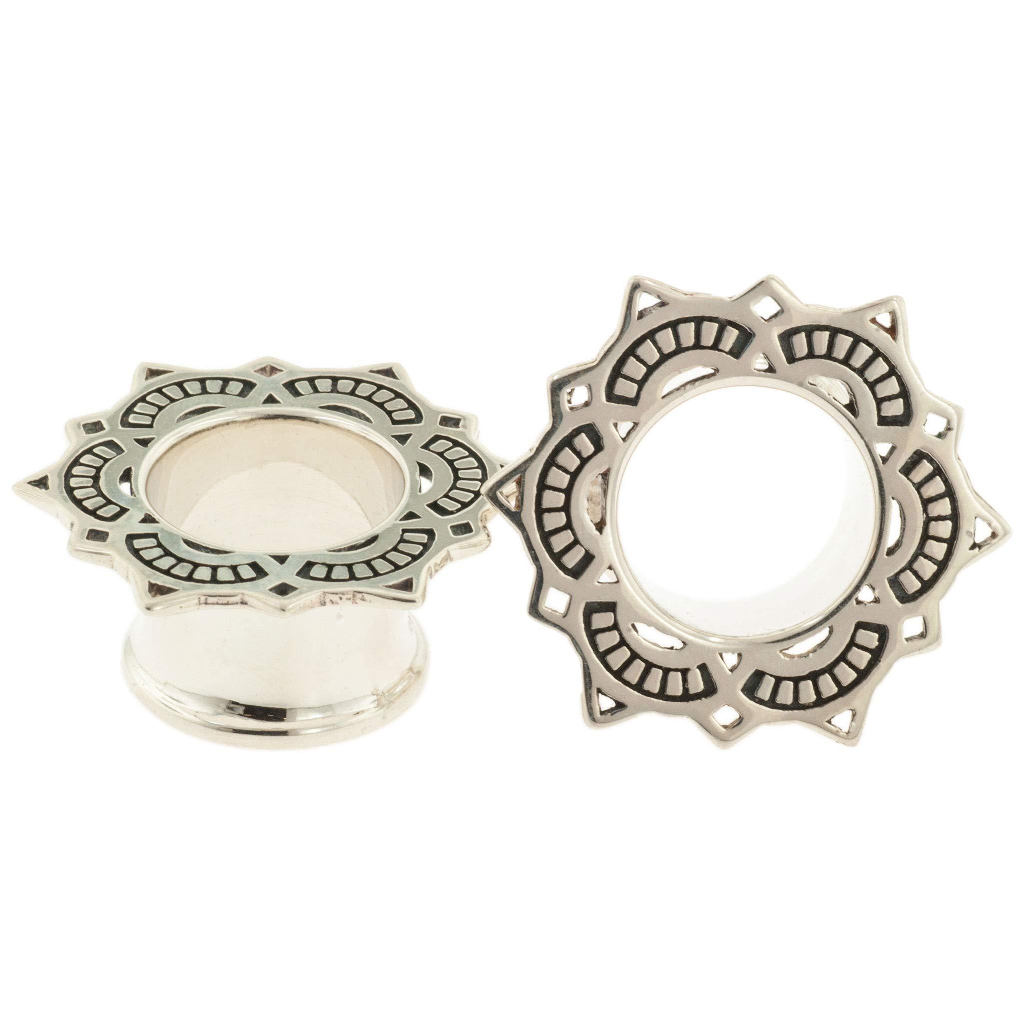 Pair of Silver Dobule Flared Lotus Drop Eyelets: 1-1/8''