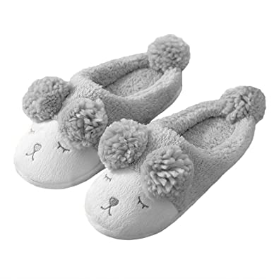 1b9b3b9954a5 Lionsoul Women Slipper Soft Warm Plush House Cute Sheep Slipper Indoor Grey