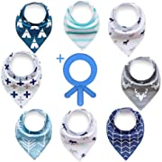 Olyssa & Co - Baby Bandana Drool Bibs for Drooling Teething Boys - 8 Pack + Bonus Teething Ring - Super Soft & Ultra Absorbent Organic Cotton Front. Perfect Baby Shower Gift Set.