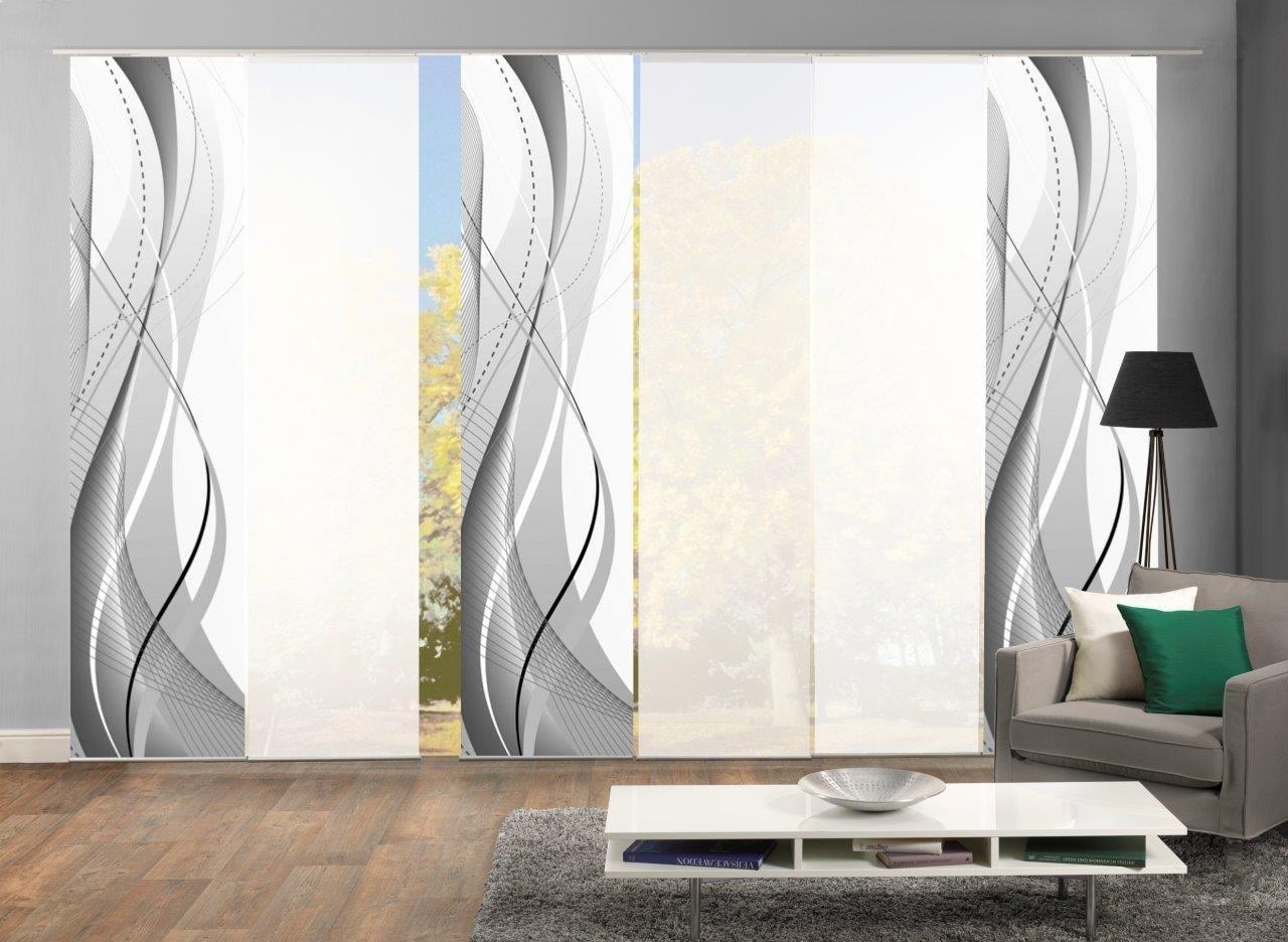 Home Fashion 96150 Flächenvorhänge 6er-Set WuXi, in Beere, grau und Petrol, Flächenvorhang Carlisle + Uni-Flächenvorhang ROM (grau)