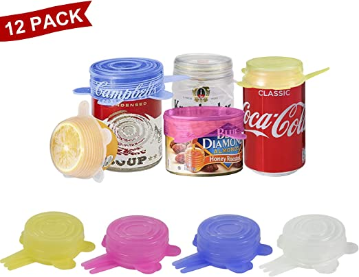 18 Pieces Stretchable Silicone lids,BPA Free,Sealed Plastic wrap,Reusable Silicone Cover Stretch lids in Various Sizes for Bowls,Cups,cans,Fruit.