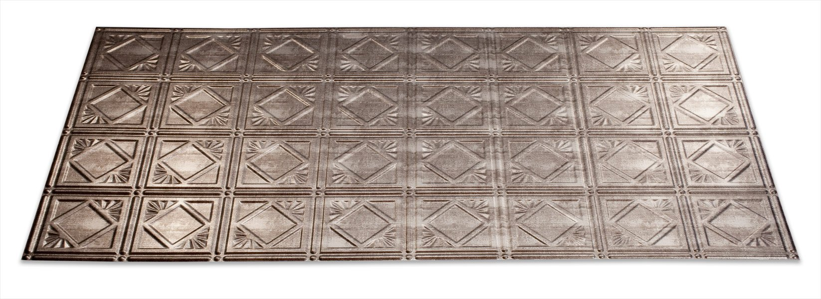 Fasade Easy Installation Traditional 4 Crosshatch Silver Glue Up Ceiling Tile / Ceiling Panel (2' x 4' Panel)