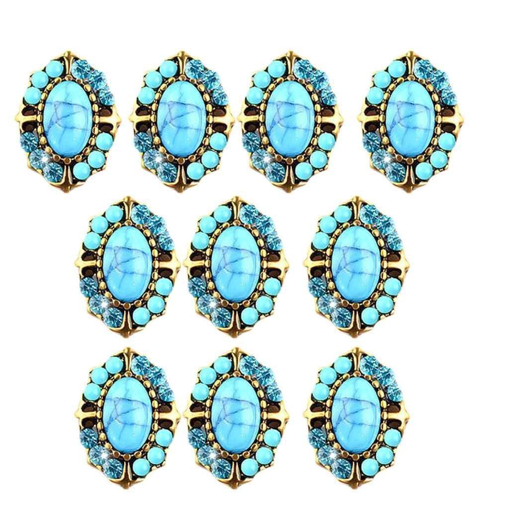 Fighting 10pcs / set 3D Glitter cristal Nail Art Sticker Sequin Rétro métal style ovale ronde coeur bijoux d'ongles Décoration Femmes Filles
