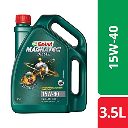 Castrol MAGNATEC Diesel 15W-40 API SN Part-Synthetic Engine Oil for Diesel Cars (3.5 L) (3382383)