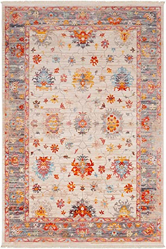 Royce Beige and Red Updated Traditional Area Rug 9 x 12 10
