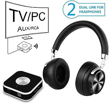 TV Auriculares inalámbricos con transmisor Bluetooth para Ver televisión y Juegos de computadora,con AUX de 3,5 mm, RCA, PC, Audio Digital USB y sin ...