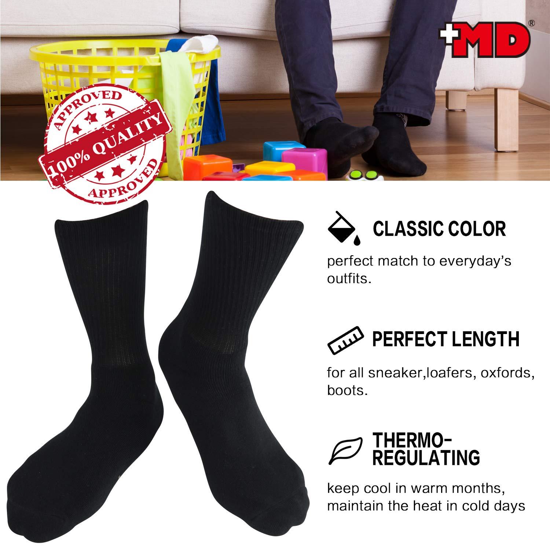 +MD 6 Pack Mens Bamboo Crew Socks Extra Heavy Full Cushion Work Socks Moisture Wicking Hiking Trekking Sports Casual Socks