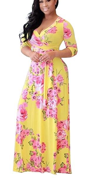 cd0fd5037 Vestidos Estampados Flores Mujer de Verano Cuello en V Manga 3/4 Cintura  Alta con Cinturón Vintage Bohemio Hippie Chic Caftan Tunica Falda Wrap ...