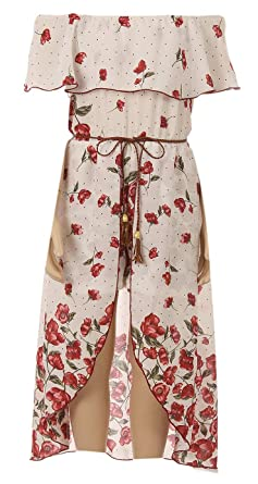 9add0bfa76e Little Girl Off Shoulder Hi Lo Floral Maxi Skirt Romper Party Summer  Birthday Outfit Burgundy 4