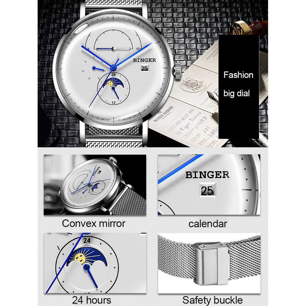 A Mechanical watches vattentät automatisk mekanisk klocka, multifunktions-veckkalender enkel vardaglig affärsmänsla för män – flerfärgad vit