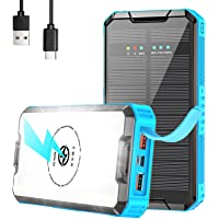 Solar Charger 30000mAh, Solar Power Bank, PD 20W QC3.0 Quick Charge with 10W Qi Wireless Portable Charger, 3 Outputs…