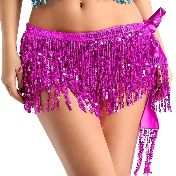 YOOJIA Falda de Flecos Baile Latino Salsa Capa de Borlas ...