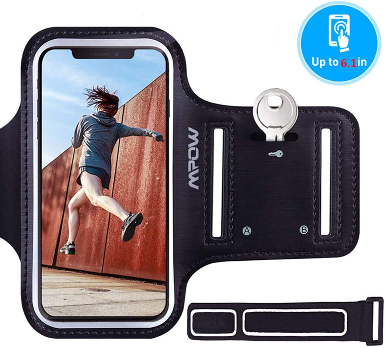 Mpow Brazalete Deportivo para Corre.Soporte para Llaves, cables y tarjetas,Antideslizante Contra Sudor,Brazalete Movil para iPhone 11/XR/XS/ X/ 8/7/6,LG hasta 6.1 pulgas