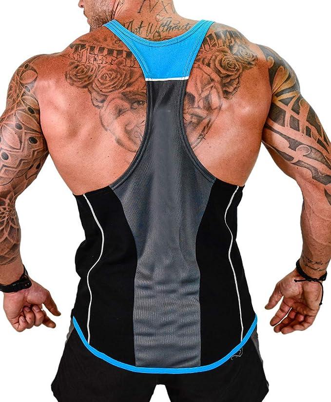 Misaky Mens Bodybuilding Stringer Raceback Tank Tops Gym Bodybuilding Muscle Workout Shirt