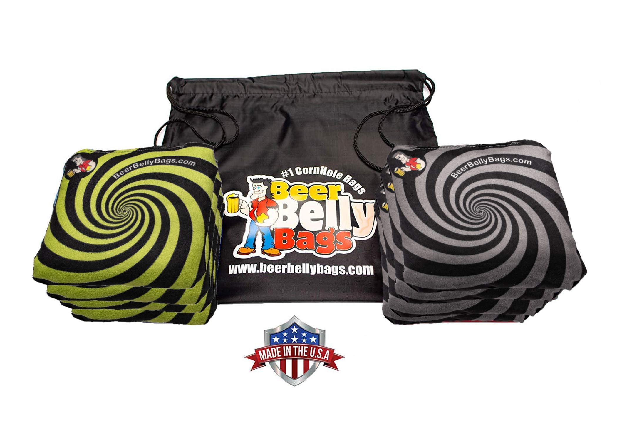 Beer Belly Bags Cornhole - Performance Series 8/pcs ACL Approved Resin Filled - Double Sided - Sticky Side | Slick Side (Black/Lime Spiral) by Beer Belly Bags