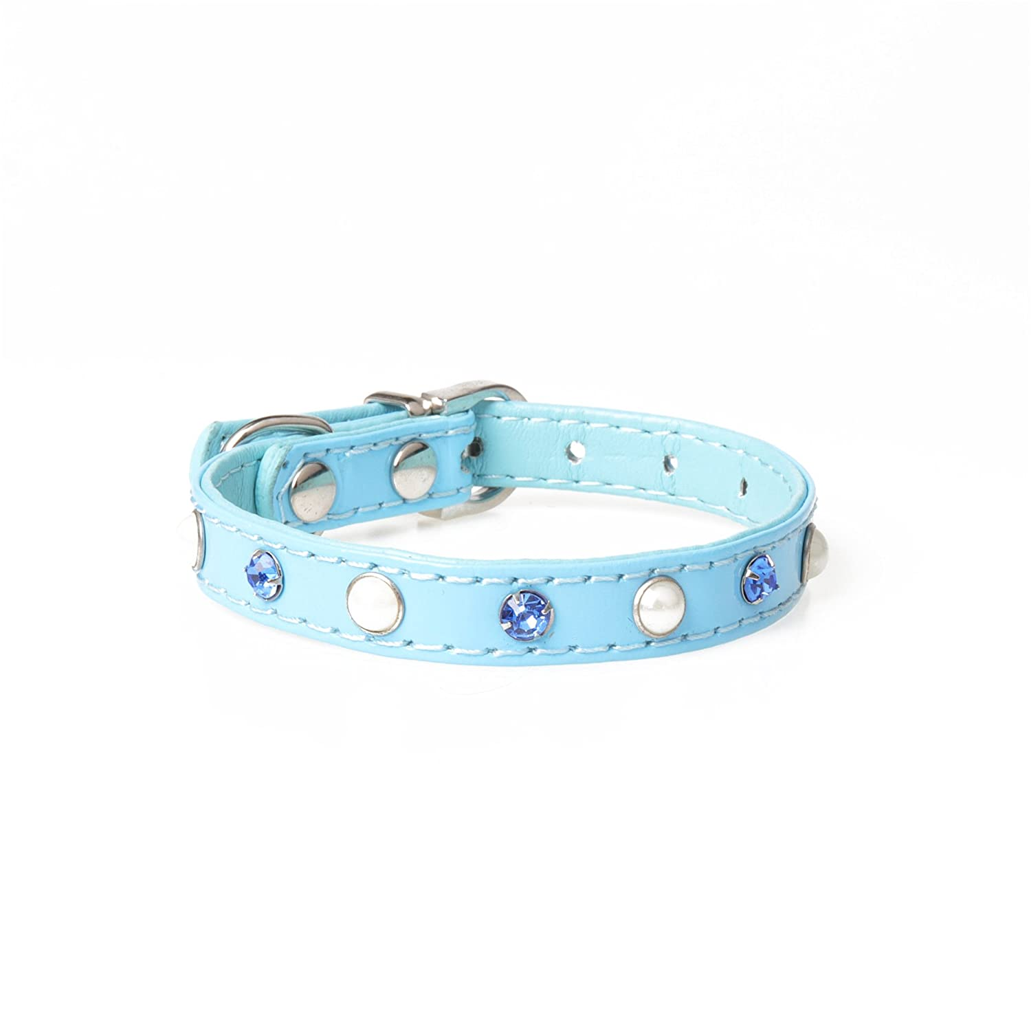 Pet Traction Rope Collar Set Rhinestone Pearl Pet Collar PU Leather Adjustable Cat Necklace Collar(Blue S)