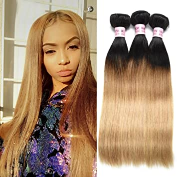Amazon Com Cheap Black To Blonde Brazilian Human Hair Straight