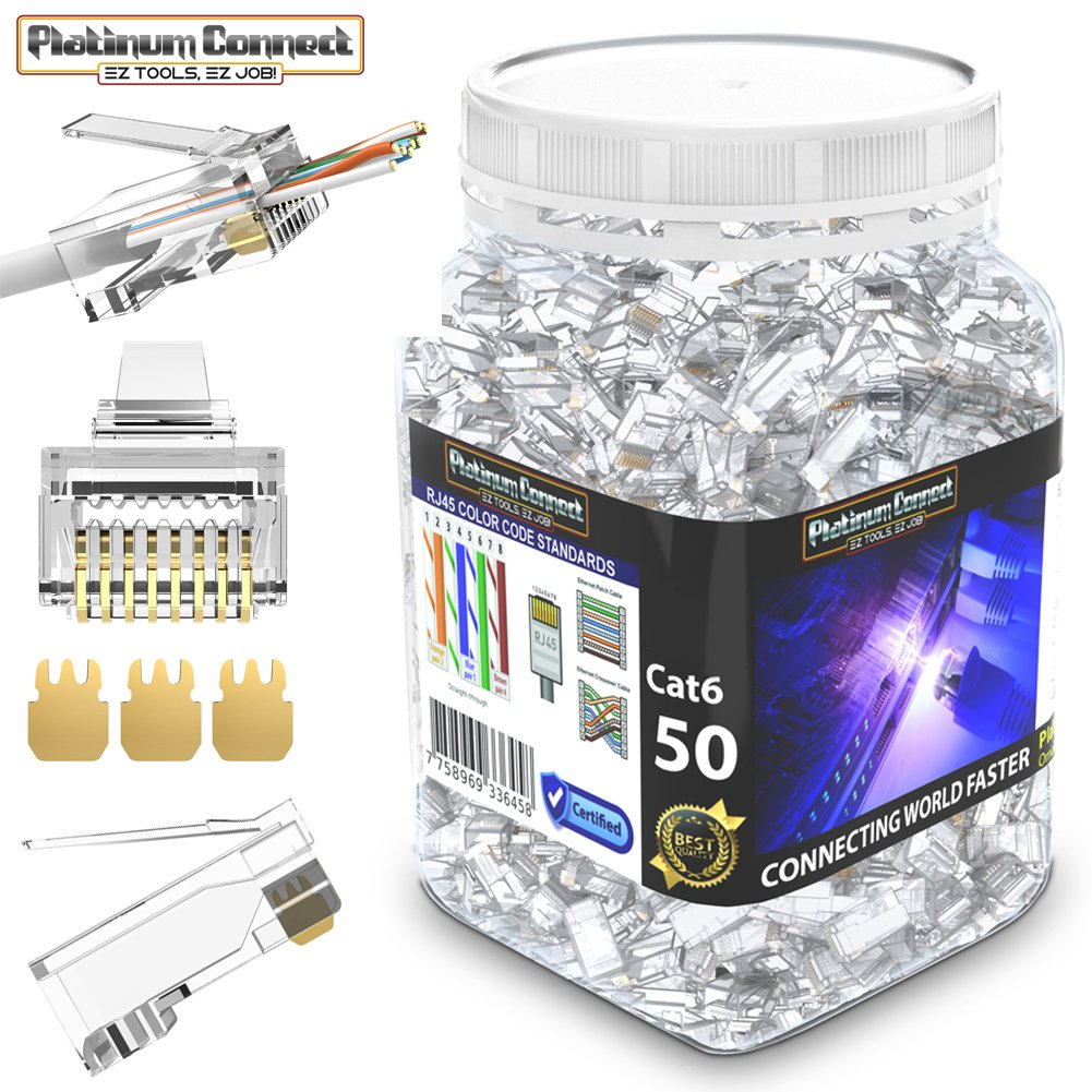Rj45 Cat6 Passthrough Connectors 50 Pcs Gold Plated 3 Micron 3u Also Cat 6 Wiring Diagram Further Connector High Performance Prong Pins