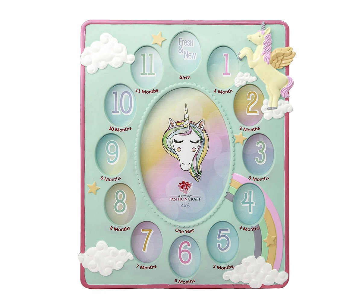 Mozlly Mint Green Unicorn Baby First Year Collage Photo Frame Standard 4 X 6 inch Photo at The Center Nursery Room Decor Mythical Fantasy Creature Picture Frame for Baby Girls from Birth to 1 Year Fashioncraft 12874