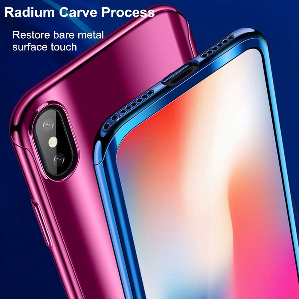 Fantasydao Compatible//Remplacement for iPhone Xs Max Case Black Screen Protector 2 in 1 Plating Hard PC Mirror 360/° Full Body Protection Ultra Thin Cover for iPhone Xs MAX
