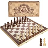 Amerous 15 Inches Magnetic Wooden Chess Set - 2 Extra Queens - Folding Board, Handmade Portable Travel Chess Board Game Sets