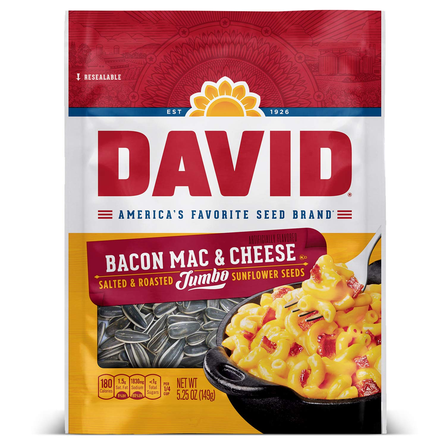 DAVID Seeds Roasted and Salted Bacon Mac & Cheese Jumbo Sunflower Seeds, Keto Friendly, 5.25 oz, 12 Pack