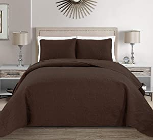 "MK Home 2 pieces Twin/ Twin Extra Long Size Solid Coffee / Dark Brown Embossed Bedspread Cover 68""x 90"" New"