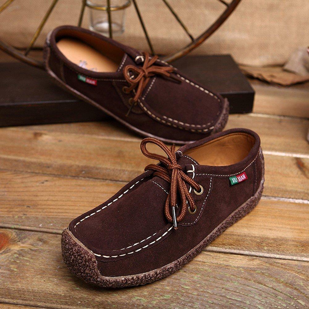 Clearance Sale Shoes For Women,Farjing Fashion women Flat Bottom Non-slip Bottom Strap Leisure Sneakers Peas Shoes(US:6,Brown)