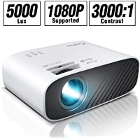 "ELEPHAS 2020 Mini Movie Projector, 5000 LUX Full HD 1080P Video Projector, with 50, 000 Hours LED Lamp Life and 200"" Display, Compatible with USB/HDMI/VGA/Laptop/iPhone/TV Stick/TF Card"