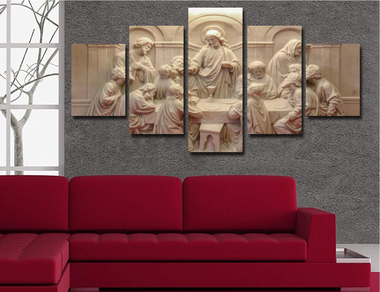 Jesus Last Supper Wall Decor for Living Room Pictures 5 Piece Canvas Prints Wall Art Christ Ultima Cena Paintings Bedroom Decoration for Home Poster Frame Christian Sculpture 60 Wx32 H