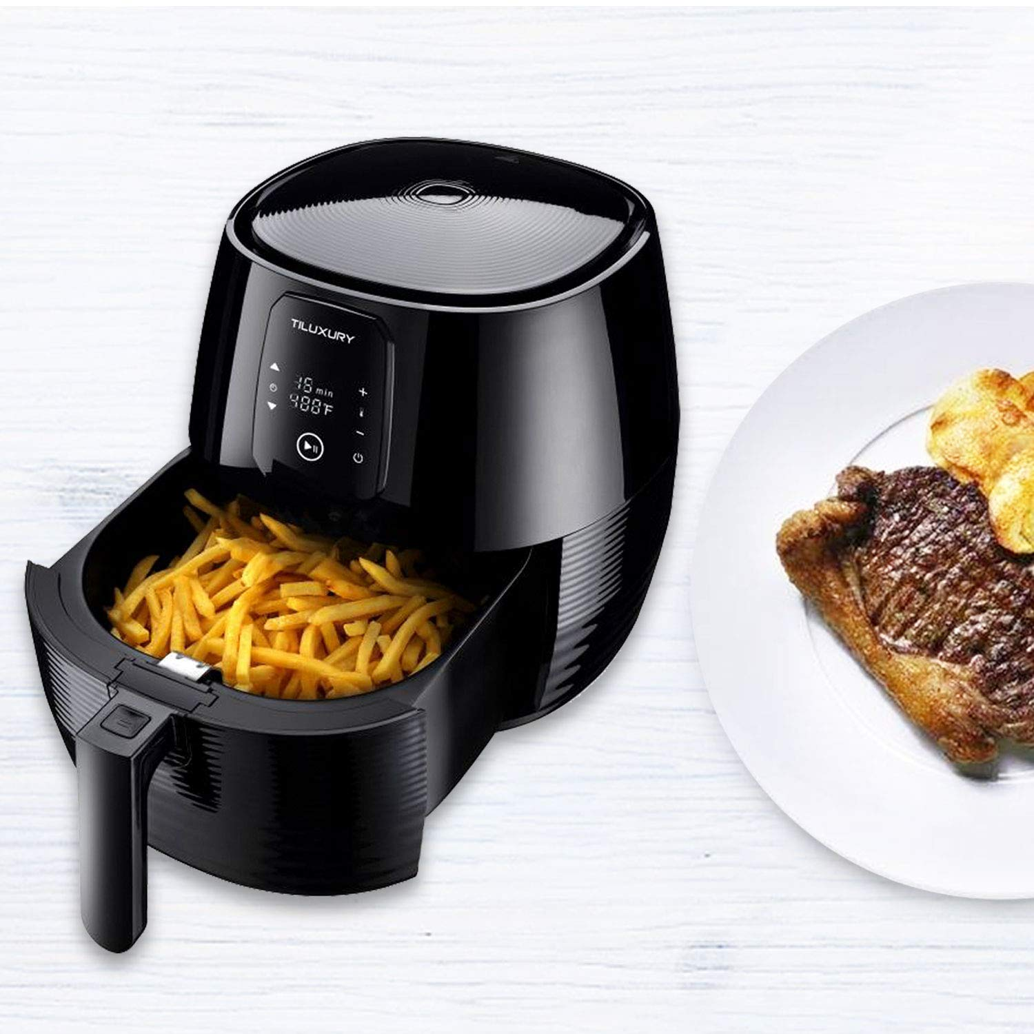 XL 5.8QT Air Fryer Less Fat Oil Healthy Cooker,For Healthy Fried Food,Temperature Control LED Display Black