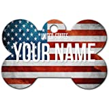 BleuReign(TM) Personalized Custom Name Country License Plate Bone Shaped Metal Pet ID Tag with Contact Information