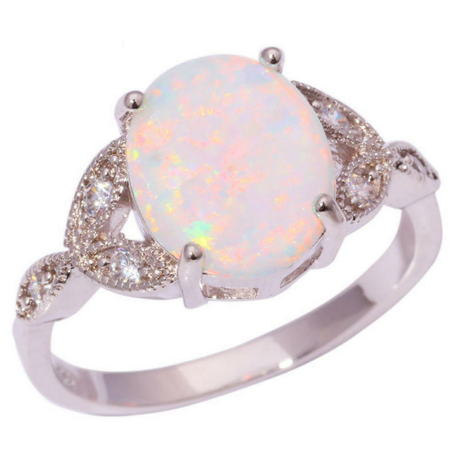 Slyq Jewelry Created White Opal Cubic Zirconia cz engagement ring