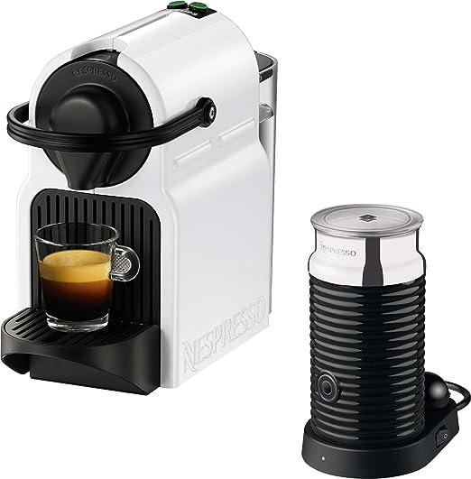 Nespresso Inissia Milk XN 1011 Cafetera de cápsulas, 1260 W, 0.7 L, metal, color blanco: Amazon.es: Hogar