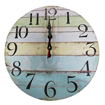 Colored Wooden Wall Clock Vintage Rustic No Ticking Decorative Round Wall Clock for Kitchen Office Bedroom