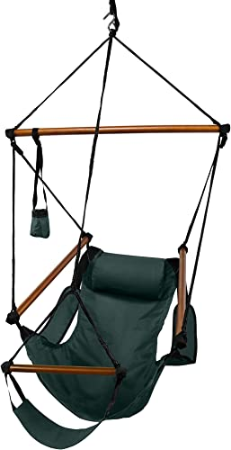 Hammaka Hanging Hammock Air Chair, Wooden Dowels, Green