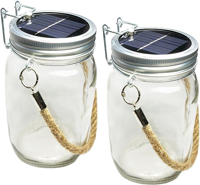 Gartenlampe weiß Solarglas 10x Solarleuchte im Einmachglas 4 LED Solarlampe